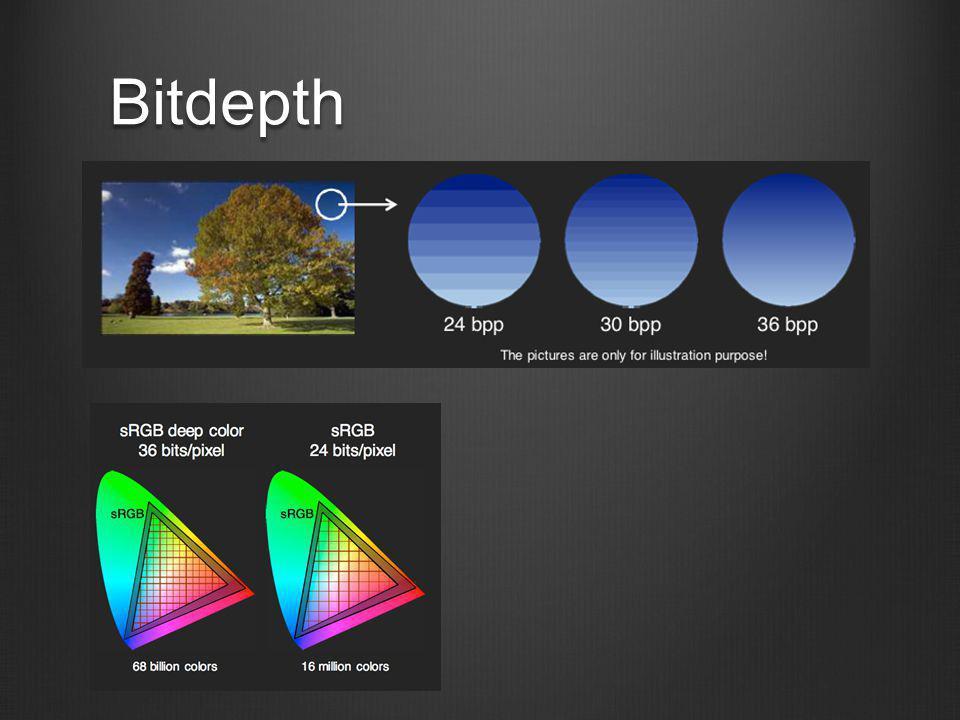 Bitdepth A színmélység nem a színtér kiterjesztése, csak több részletre osztása!