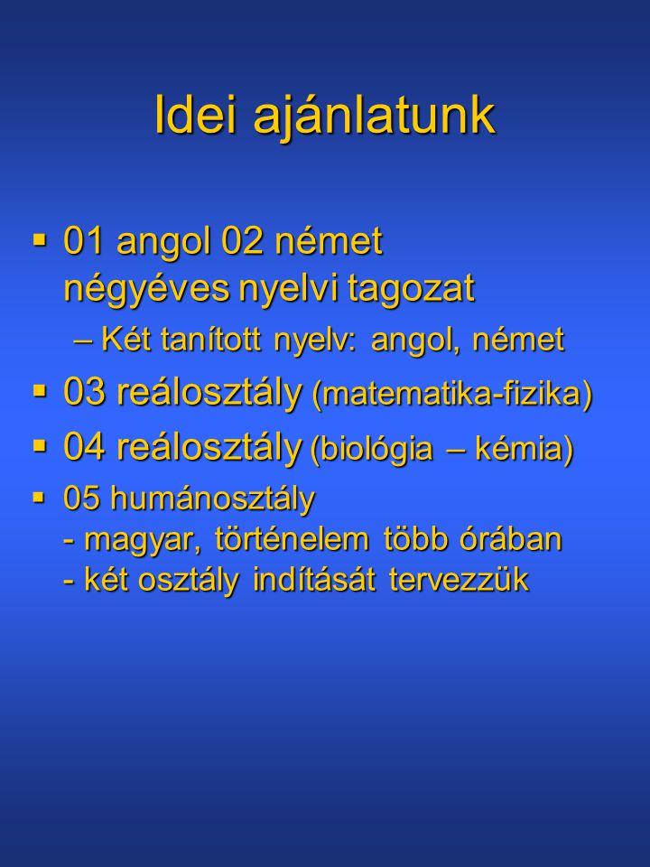 Idei ajánlatunk 01 angol 02 német négyéves nyelvi tagozat