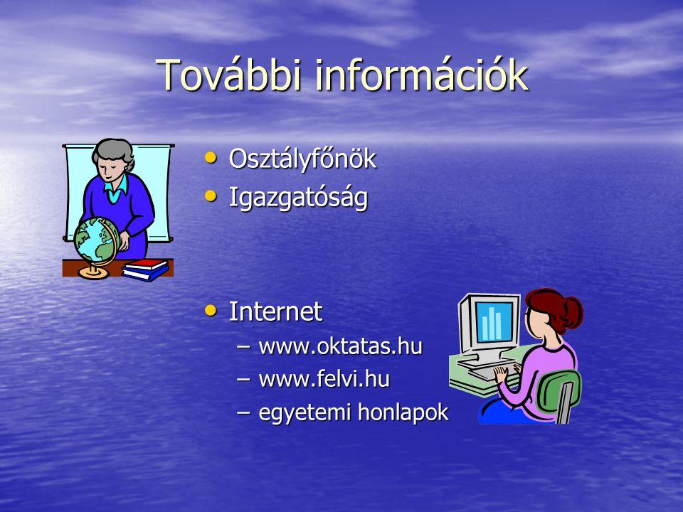 További információk Osztályfőnök Igazgatóság Internet www.oktatas.hu