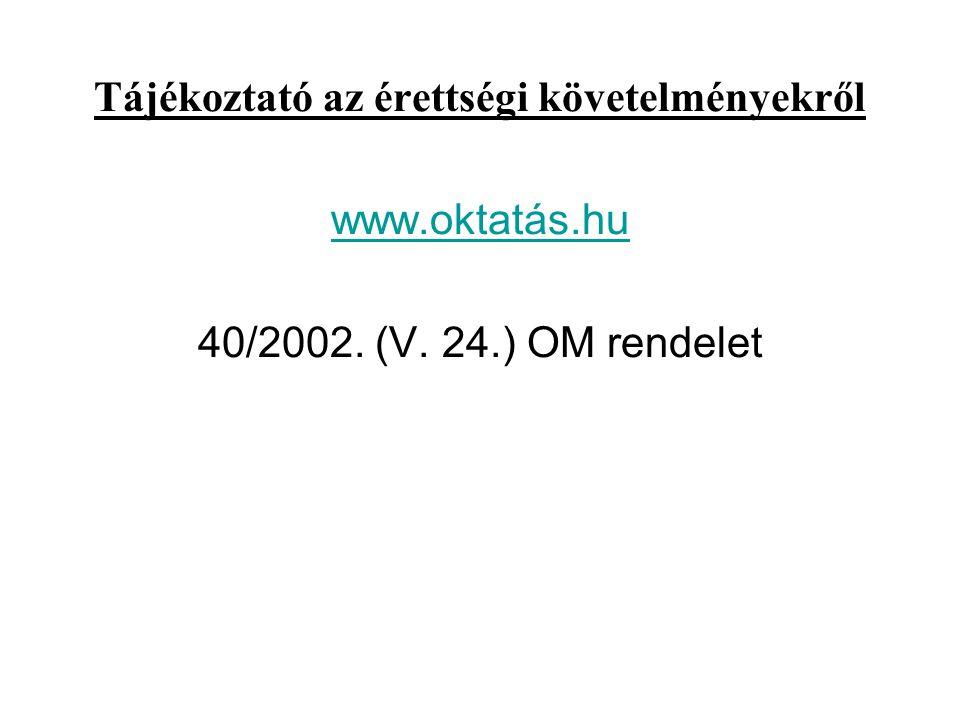 Tájékoztató az érettségi követelményekről www. oktatás. hu 40/2002. (V