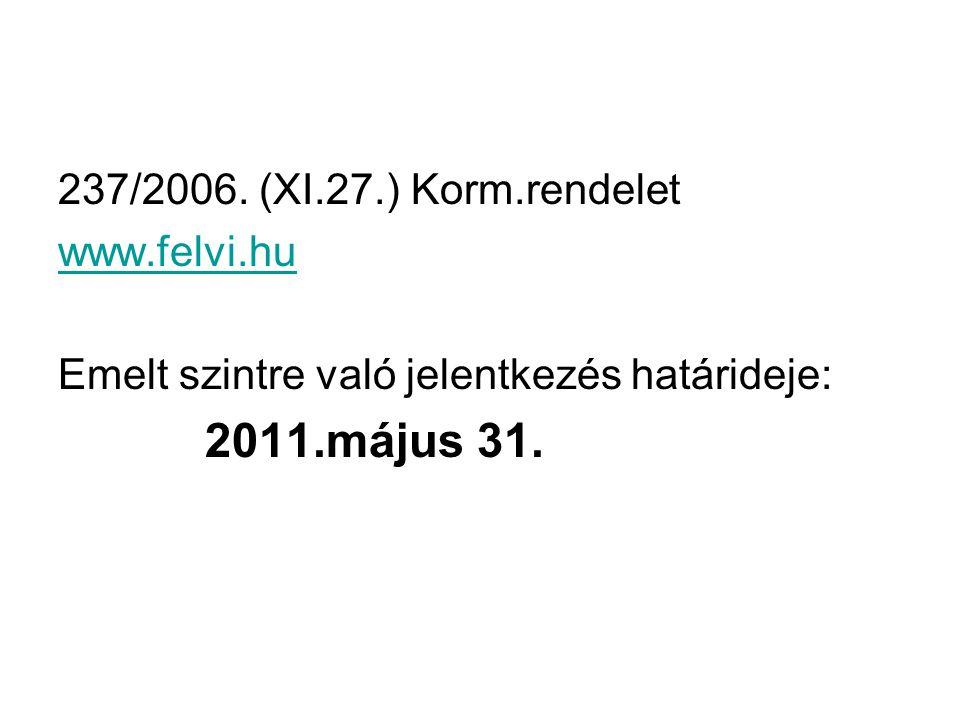 2011.május 31. 237/2006. (XI.27.) Korm.rendelet www.felvi.hu