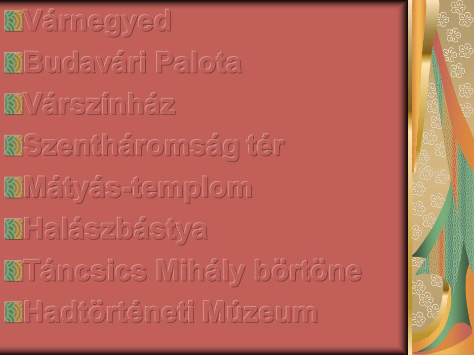 Várnegyed Budavári Palota. Várszínház. Szentháromság tér. Mátyás-templom. Halászbástya. Táncsics Mihály börtöne.