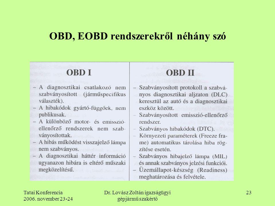OBD, EOBD rendszerekről néhány szó