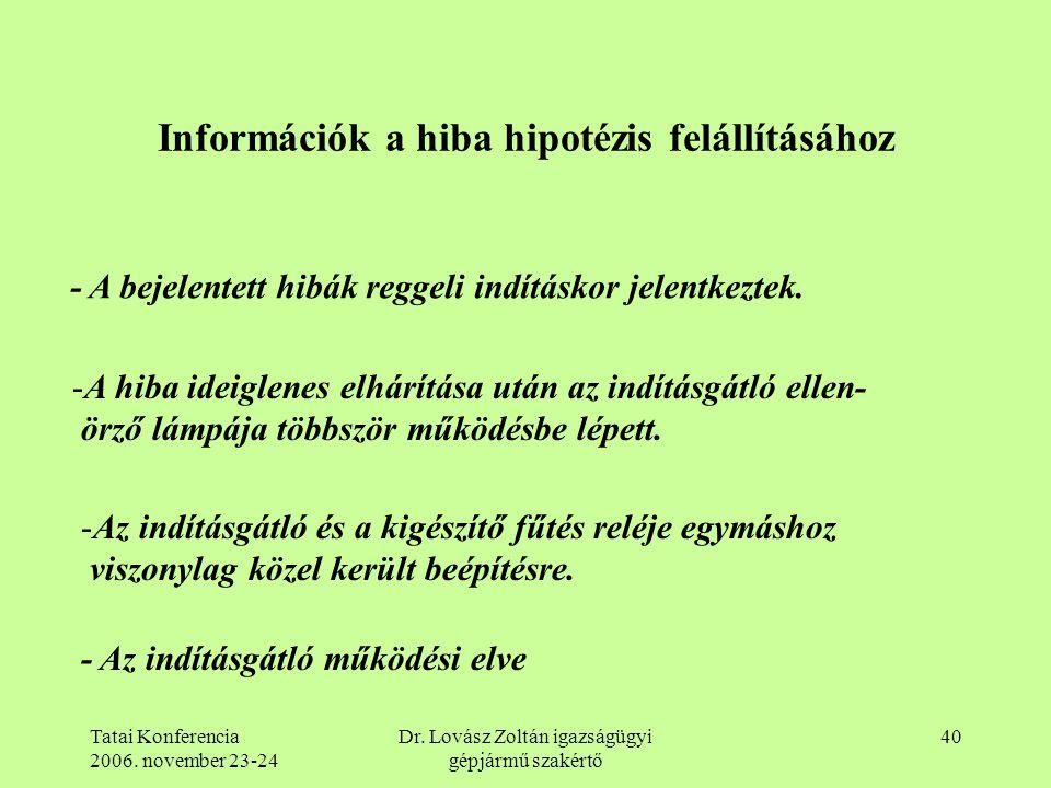 Információk a hiba hipotézis felállításához