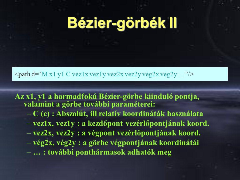 Bézier-görbék II <path d= M x1 y1 C vez1x vez1y vez2x vez2y vég2x vég2y … />