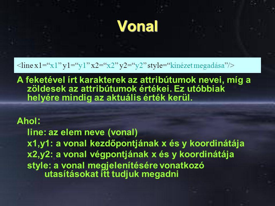 Vonal <line x1= x1 y1= y1 x2= x2 y2= y2 style= kinézet megadása />
