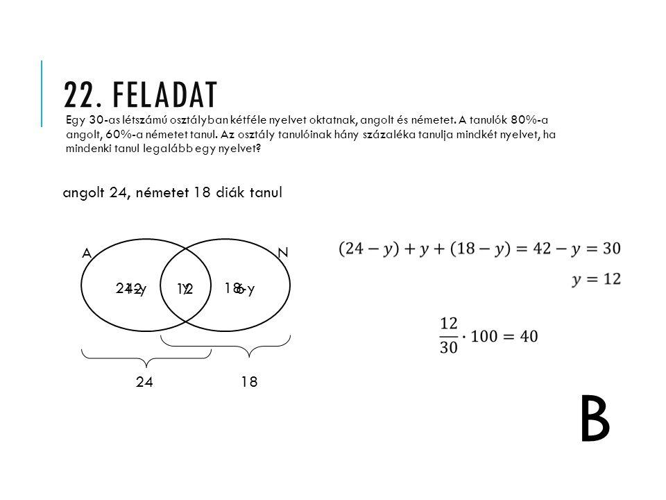 B 22. feladat angolt 24, németet 18 diák tanul A N 24-y 12 12 y 18-y 6