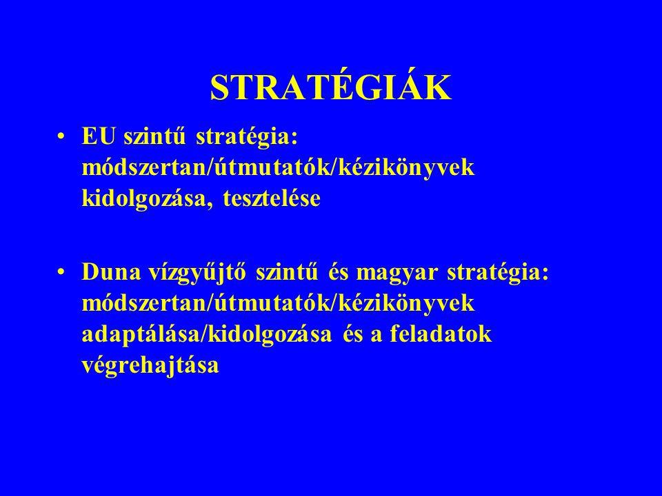 STRATÉGIÁK EU szintű stratégia: módszertan/útmutatók/kézikönyvek kidolgozása, tesztelése.