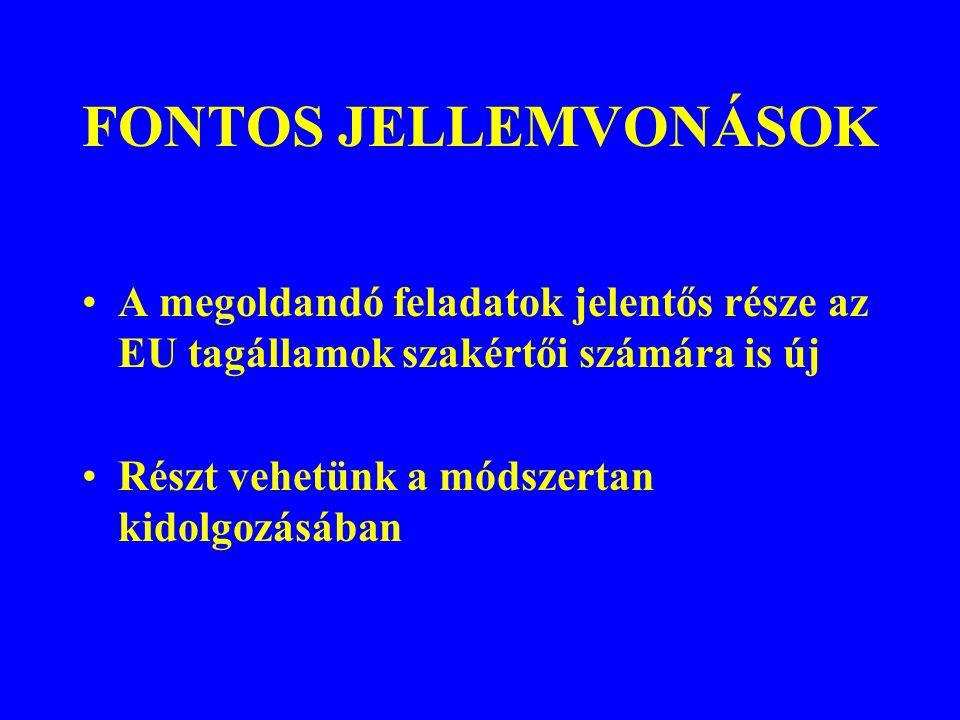 FONTOS JELLEMVONÁSOK A megoldandó feladatok jelentős része az EU tagállamok szakértői számára is új.