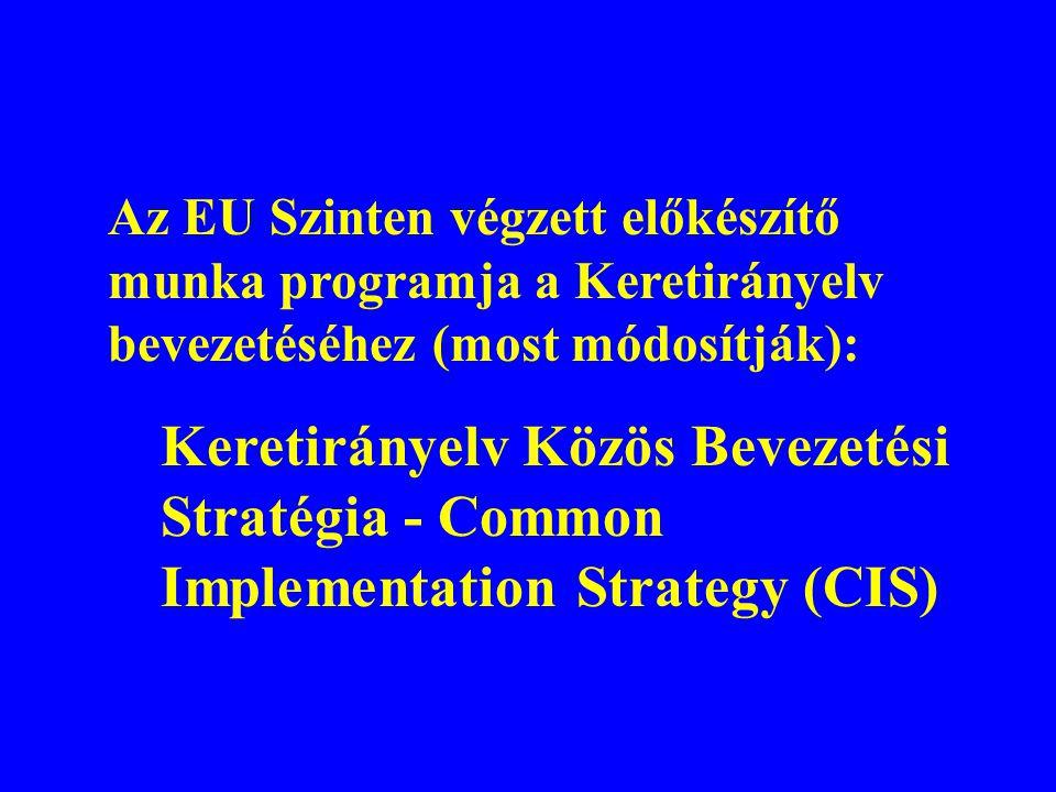 Az EU Szinten végzett előkészítő munka programja a Keretirányelv bevezetéséhez (most módosítják):