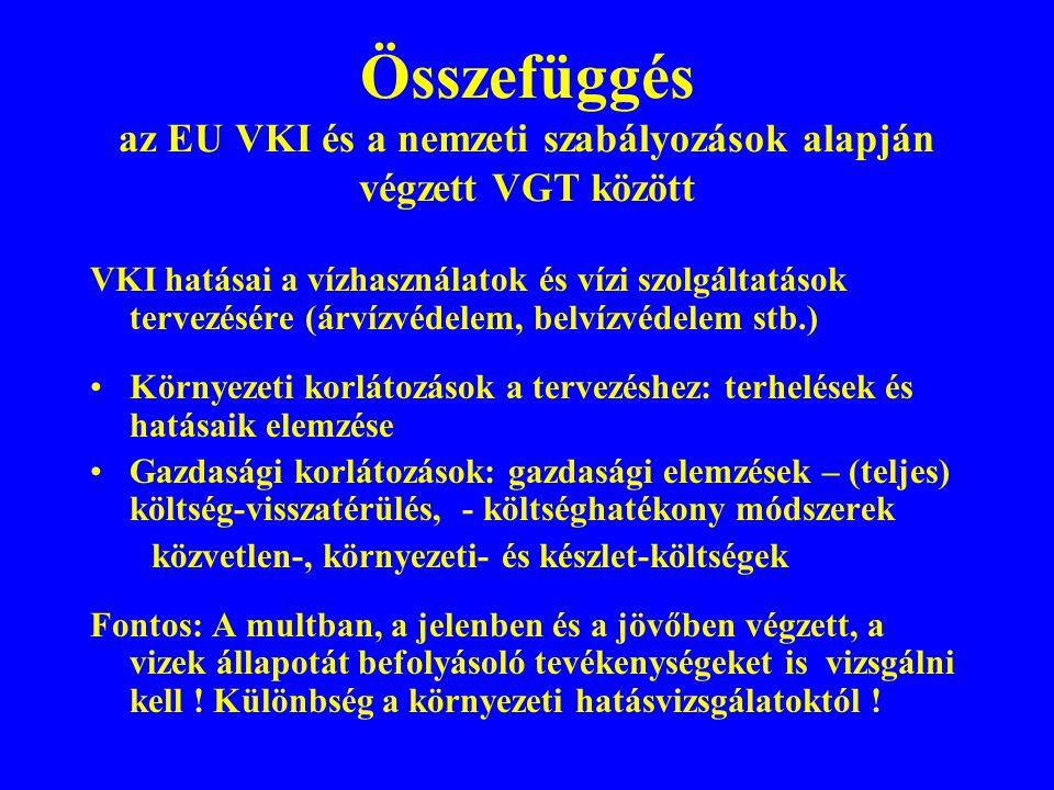 Összefüggés az EU VKI és a nemzeti szabályozások alapján végzett VGT között