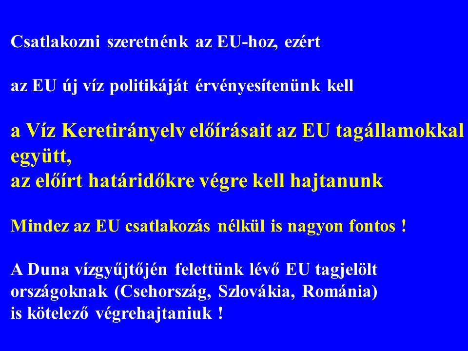 a Víz Keretirányelv előírásait az EU tagállamokkal együtt,