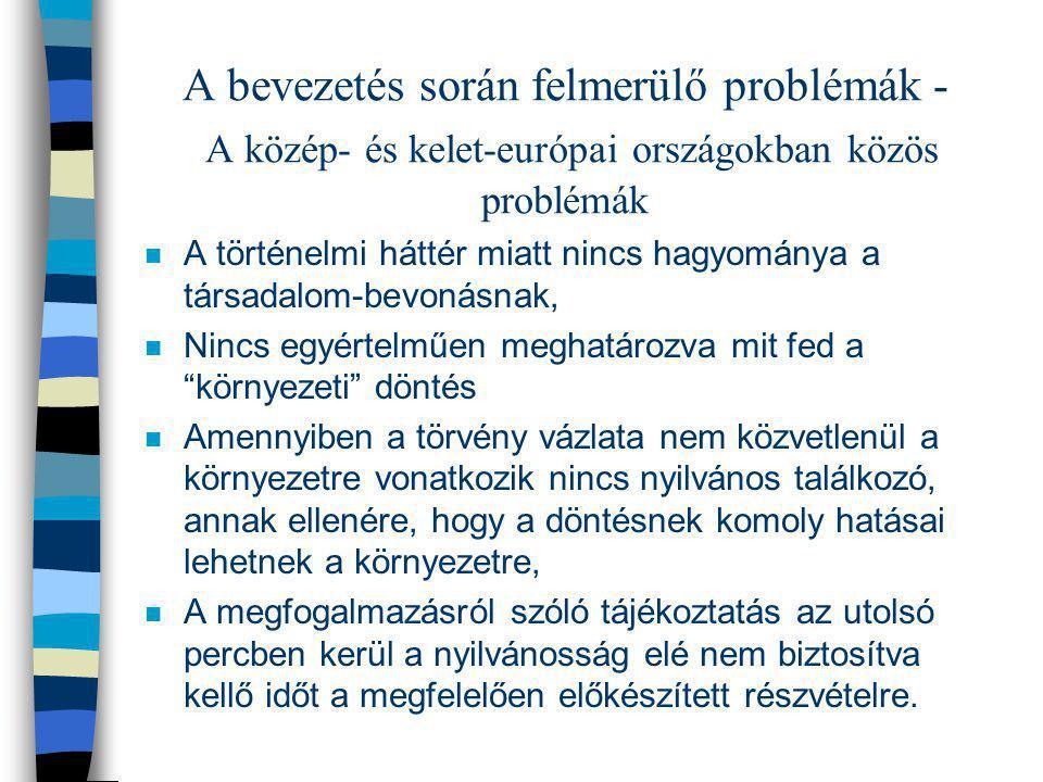 A bevezetés során felmerülő problémák - A közép- és kelet-európai országokban közös problémák