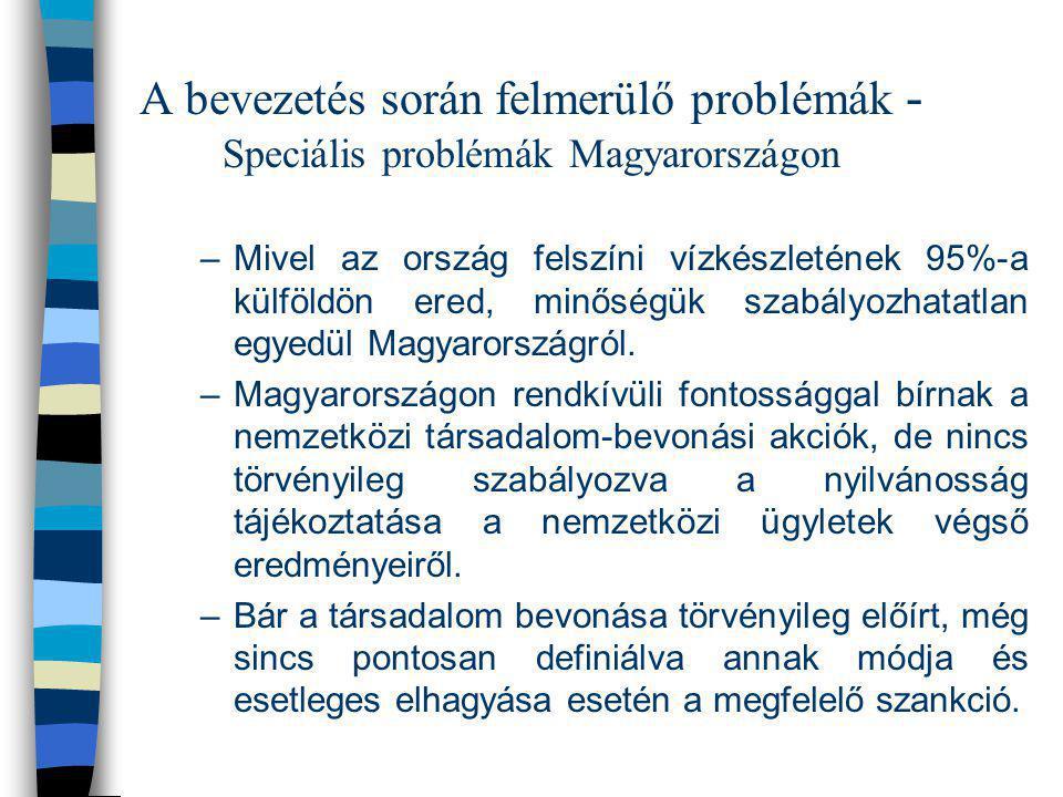 A bevezetés során felmerülő problémák - Speciális problémák Magyarországon