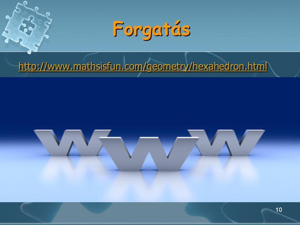 Forgatás http://www.mathsisfun.com/geometry/hexahedron.html