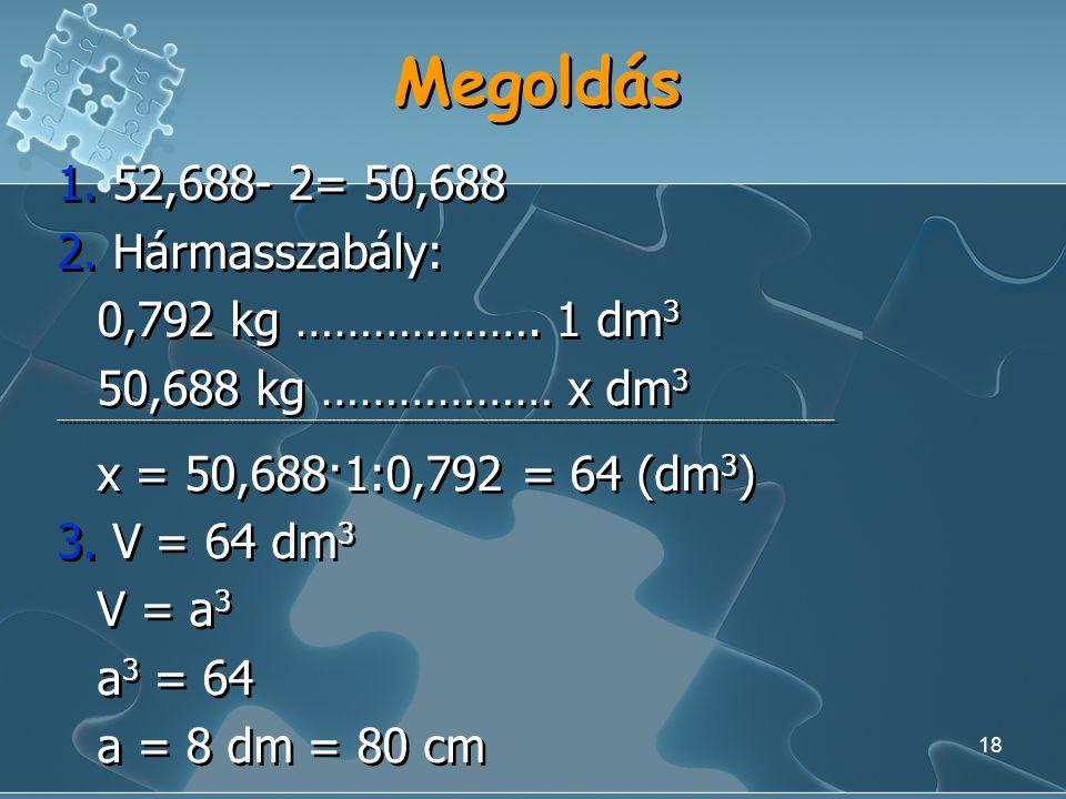 Megoldás 1. 52,688- 2= 50,688 2. Hármasszabály: 0,792 kg ………………. 1 dm3