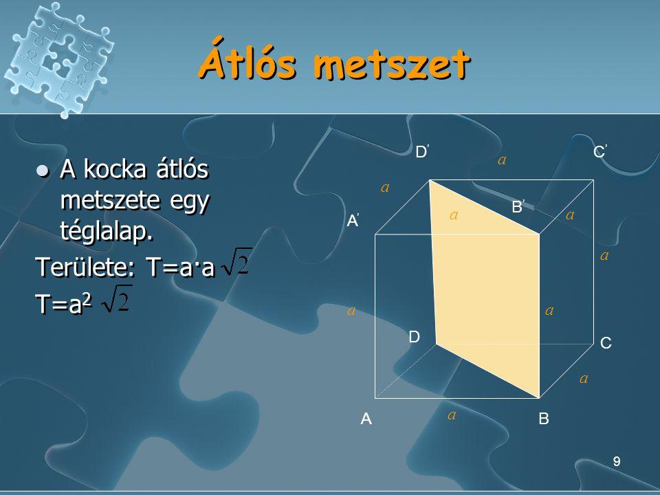 Átlós metszet A kocka átlós metszete egy téglalap. Területe: T=a·a