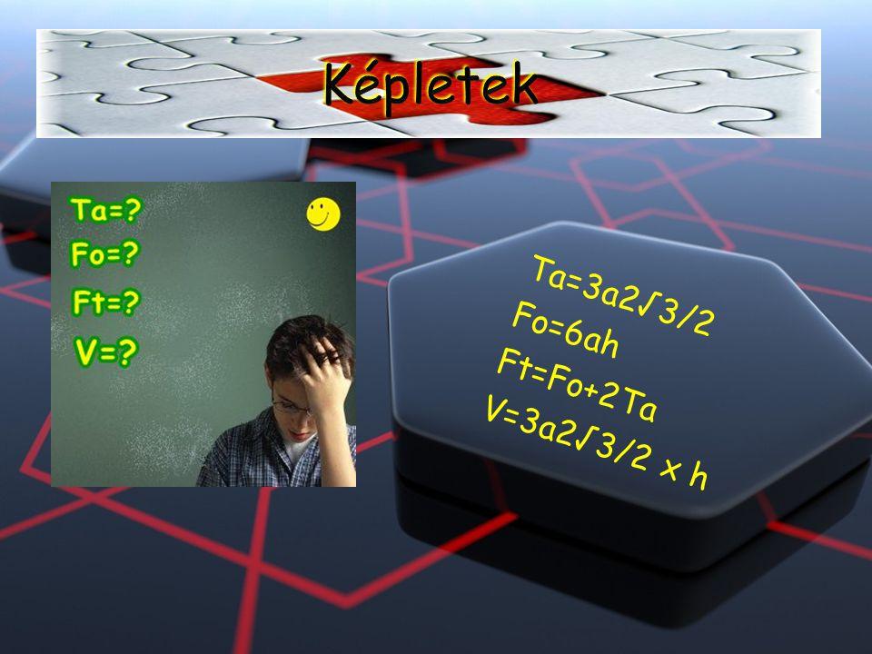 Képletek Ta=3a2√3/2 Fo=6ah Ft=Fo+2Ta V=3a2√3/2 x h