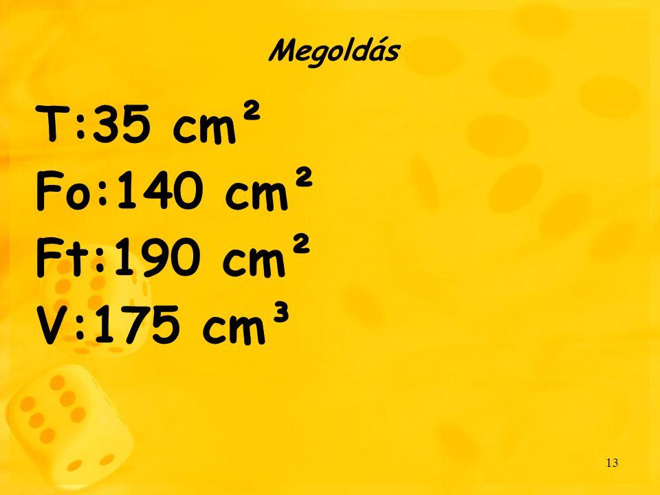 Megoldás T:35 cm² Fo:140 cm² Ft:190 cm² V:175 cm³