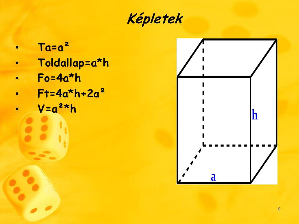 Képletek Ta=a² Toldallap=a*h Fo=4a*h Ft=4a*h+2a² V=a²*h