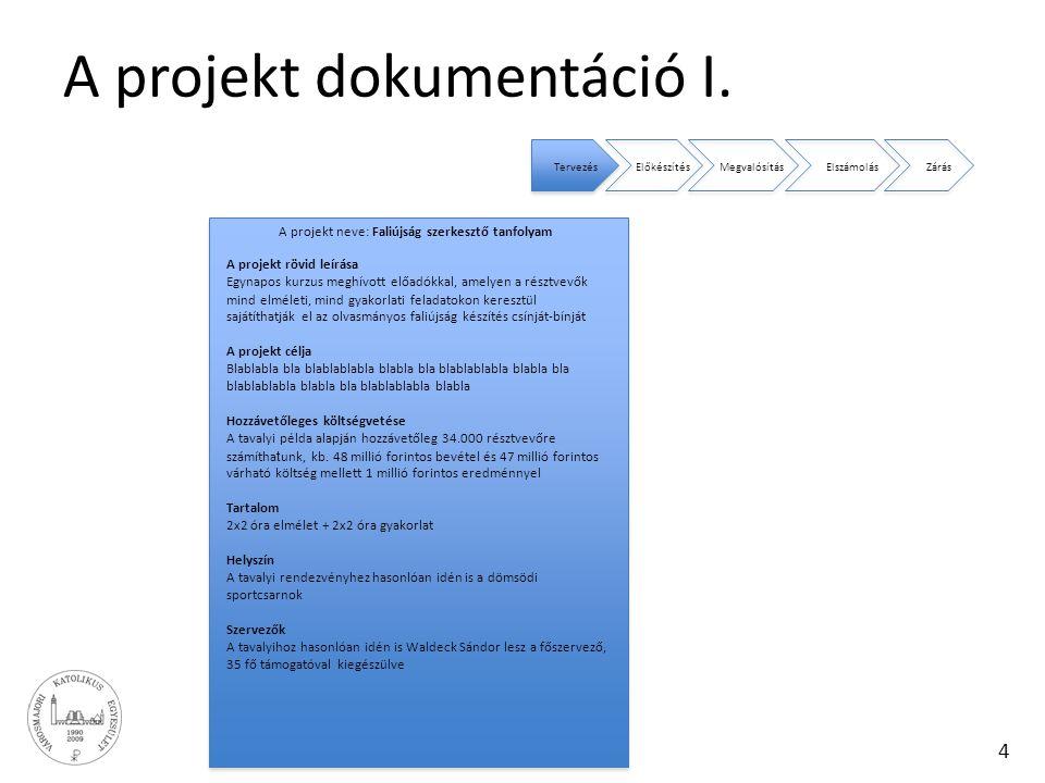 A projekt dokumentáció I.