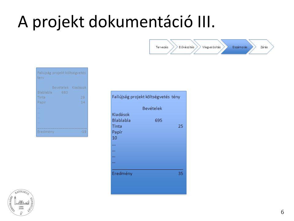 A projekt dokumentáció III.