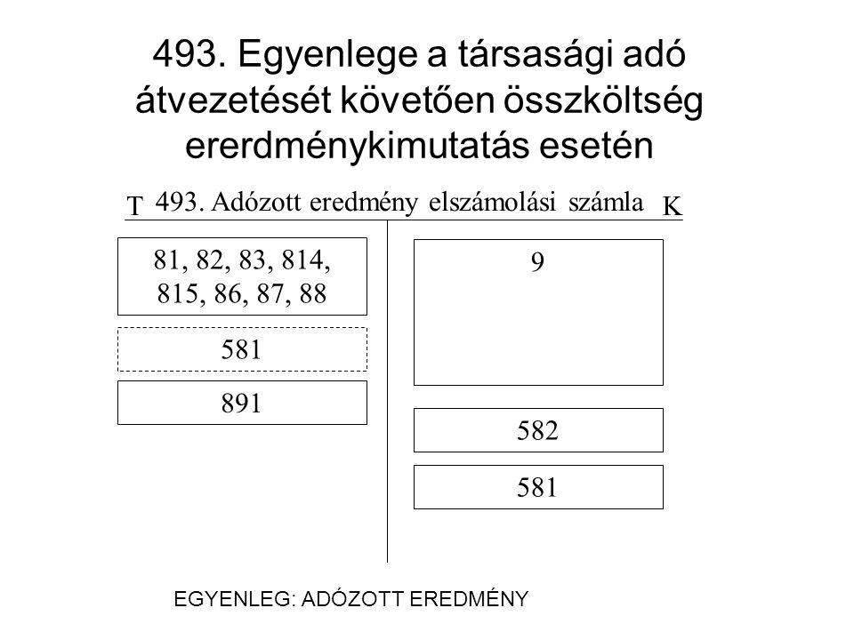 493. Adózott eredmény elszámolási számla