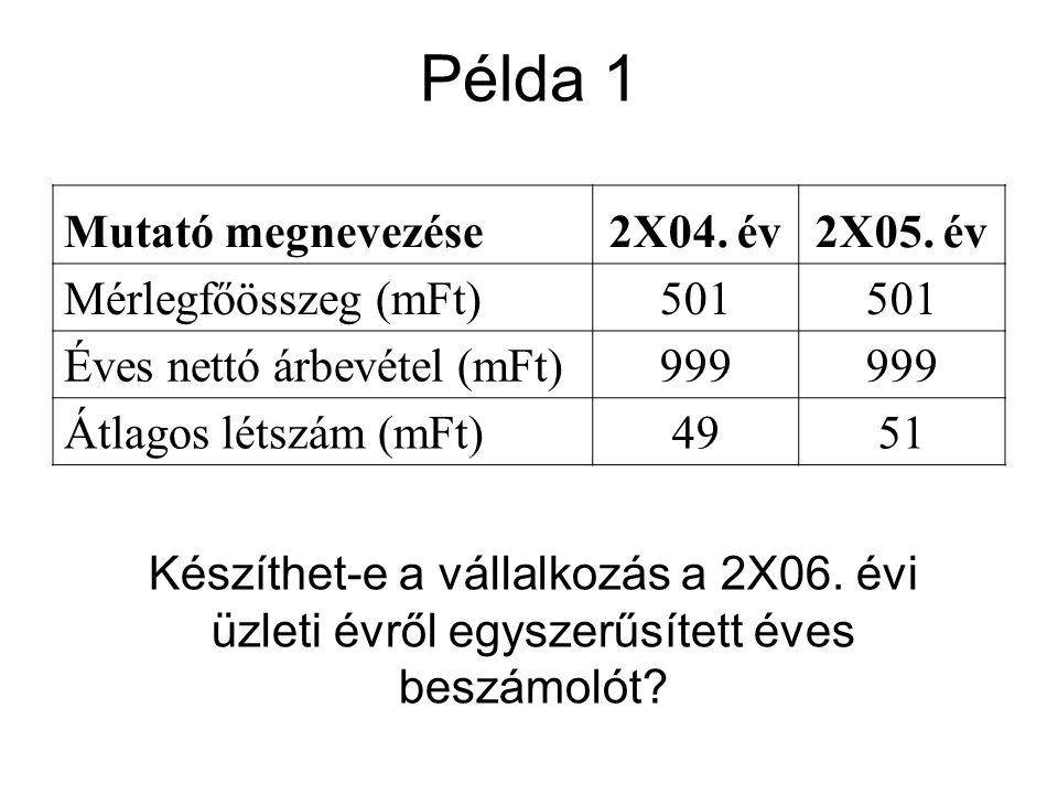 Példa 1 Mutató megnevezése 2X04. év 2X05. év Mérlegfőösszeg (mFt) 501