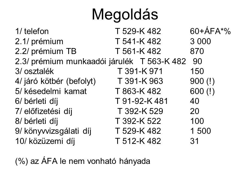 Megoldás 1/ telefon T 529-K 482 60+ÁFA*%