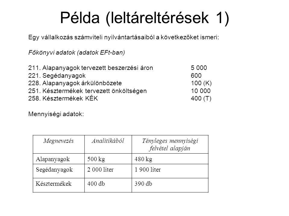 Példa (leltáreltérések 1)