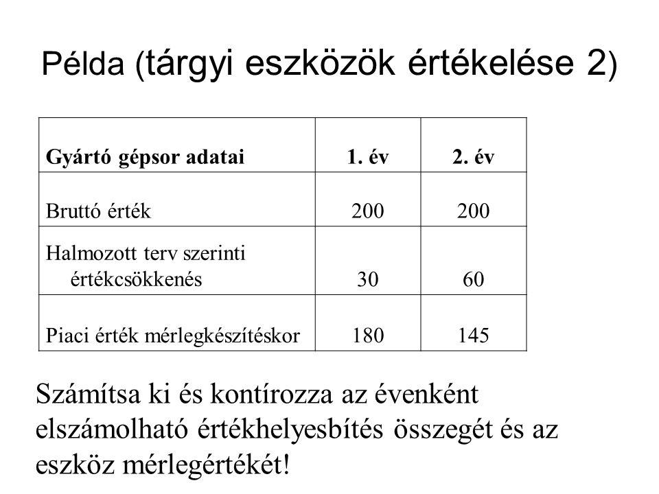 Példa (tárgyi eszközök értékelése 2)