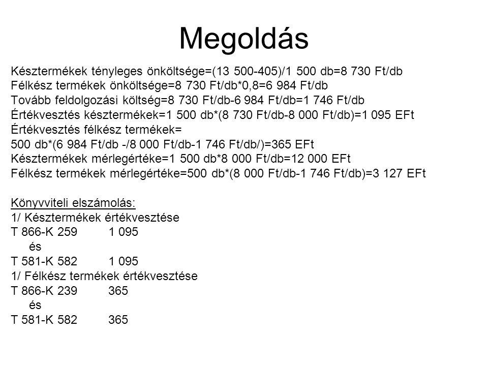 Megoldás Késztermékek tényleges önköltsége=(13 500-405)/1 500 db=8 730 Ft/db. Félkész termékek önköltsége=8 730 Ft/db*0,8=6 984 Ft/db.