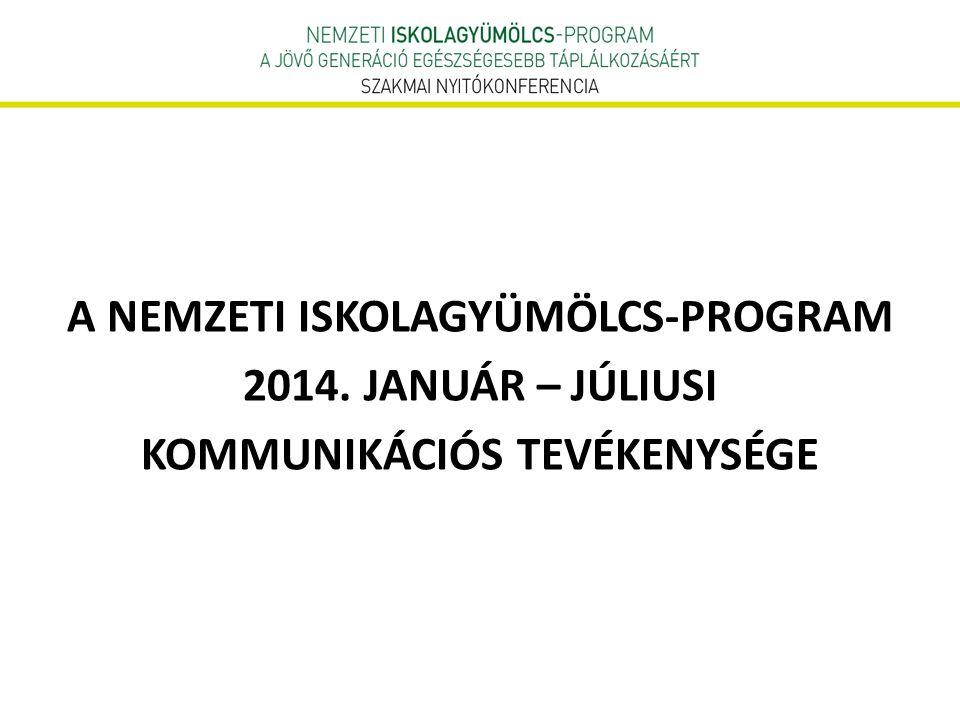 A NEMZETI ISKOLAGYÜMÖLCS-PROGRAM 2014. JANUÁR – JÚLIUSI