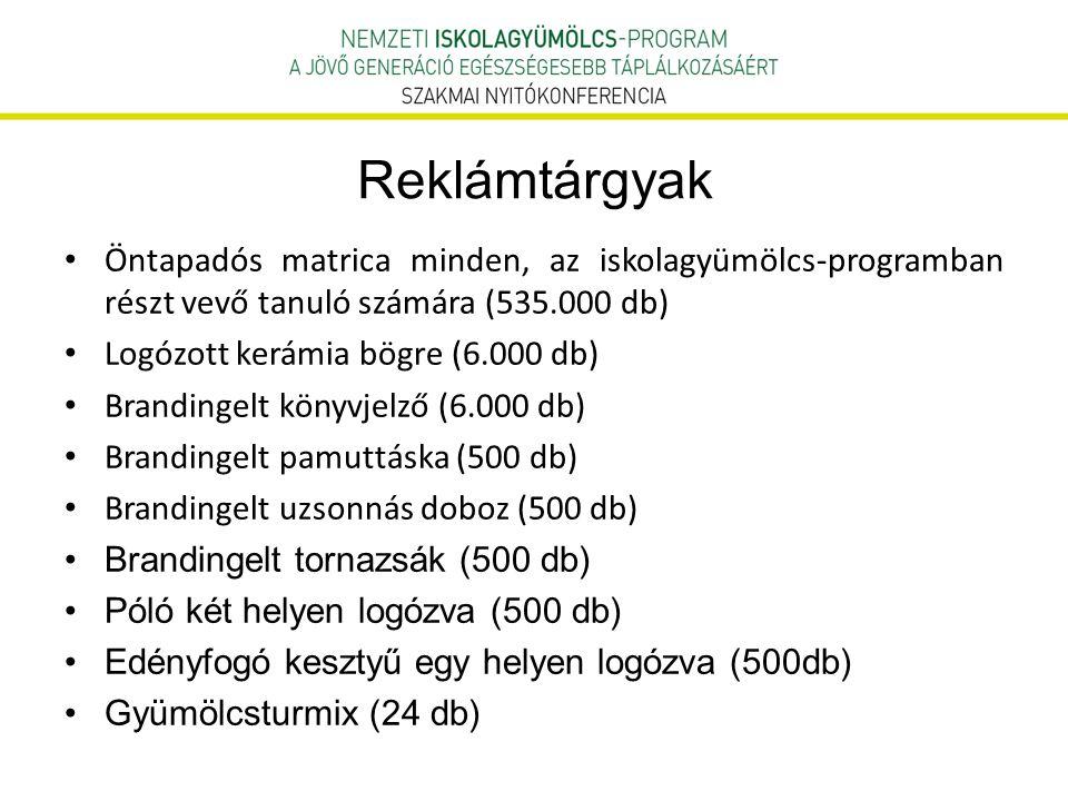 Reklámtárgyak Öntapadós matrica minden, az iskolagyümölcs-programban részt vevő tanuló számára (535.000 db)