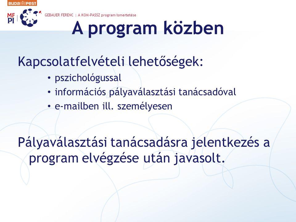 A program közben Kapcsolatfelvételi lehetőségek:
