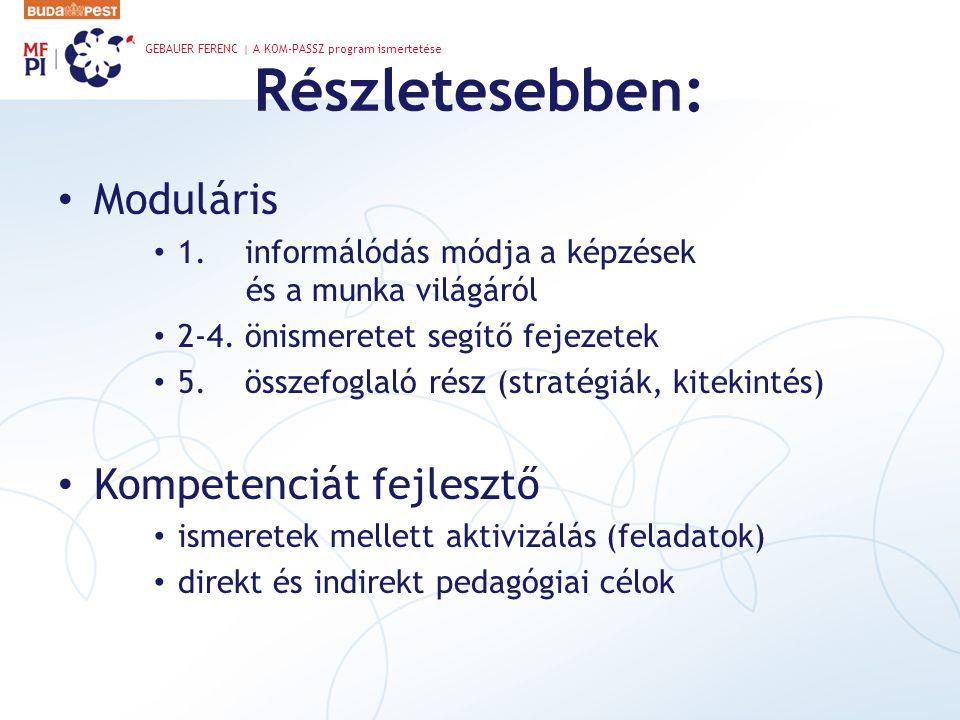 Részletesebben: Moduláris Kompetenciát fejlesztő