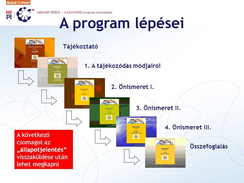 A program lépései Tájékoztató 1. A tájékozódás módjairól