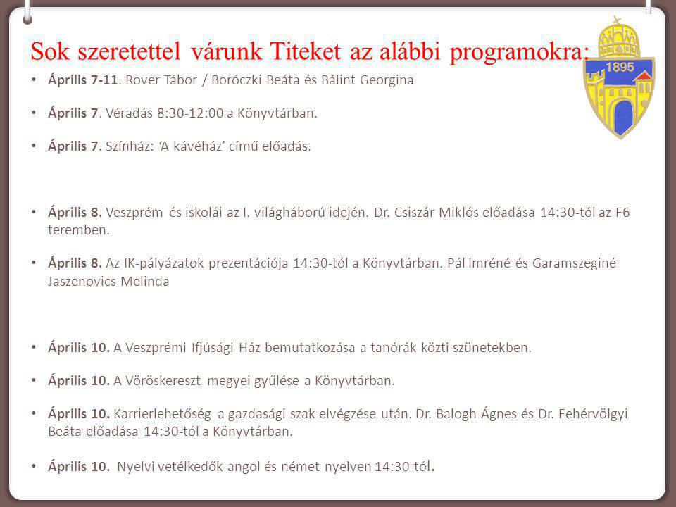 Sok szeretettel várunk Titeket az alábbi programokra: