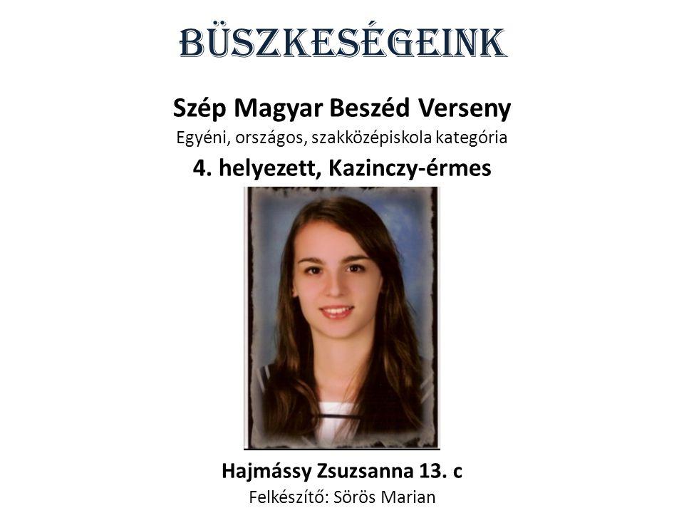 Szép Magyar Beszéd Verseny 4. helyezett, Kazinczy-érmes