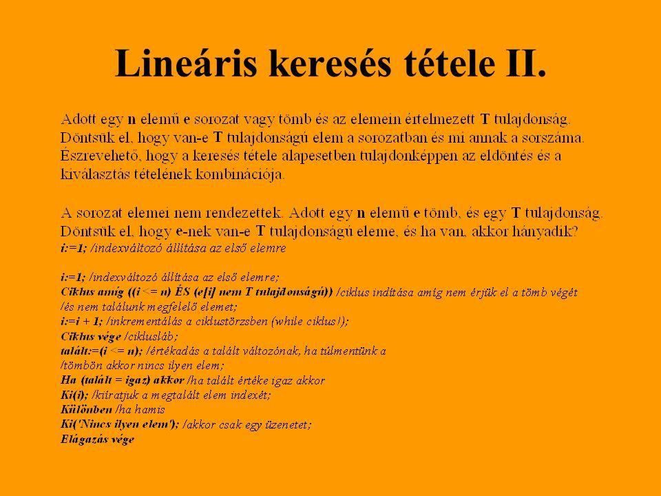 Lineáris keresés tétele II.