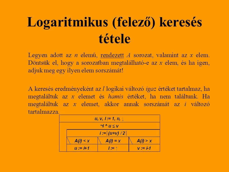 Logaritmikus (felező) keresés tétele