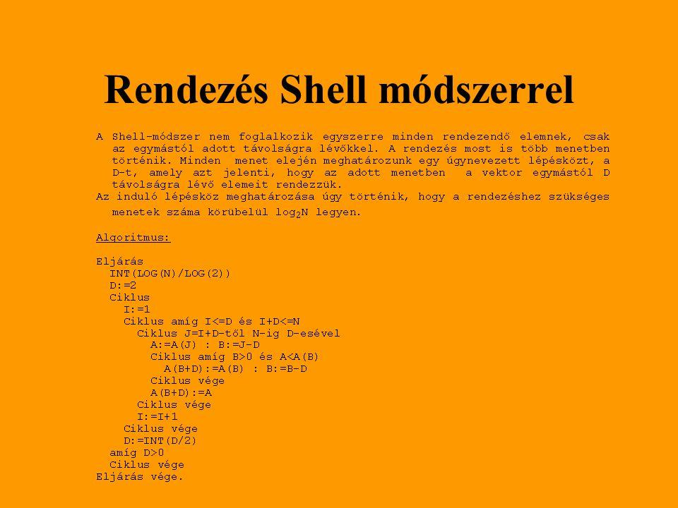 Rendezés Shell módszerrel