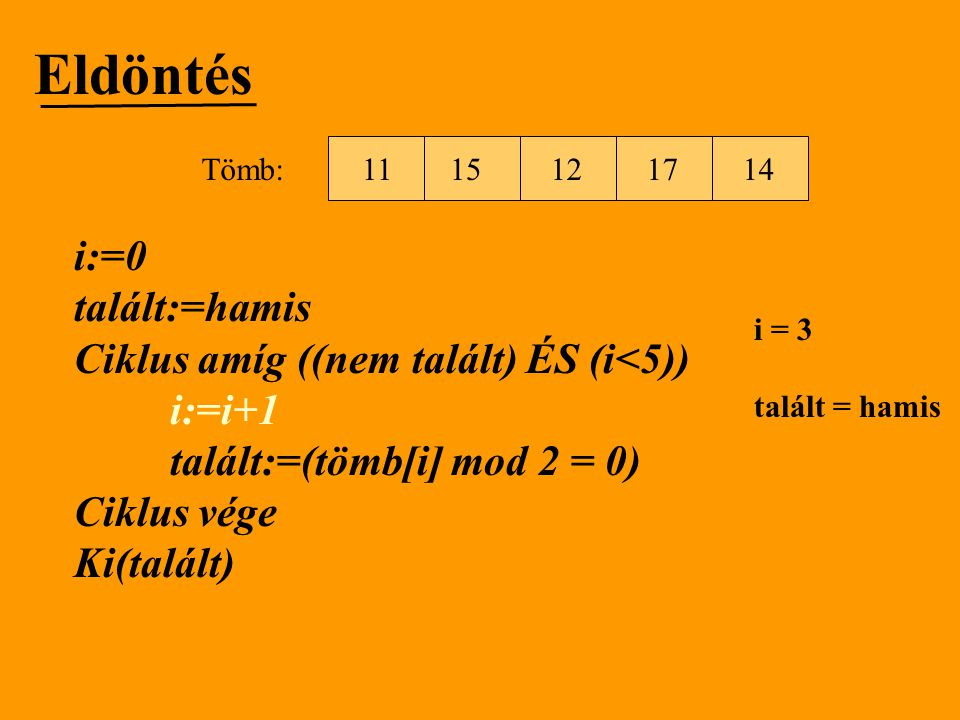 Eldöntés i:=0 talált:=hamis Ciklus amíg ((nem talált) ÉS (i<5))
