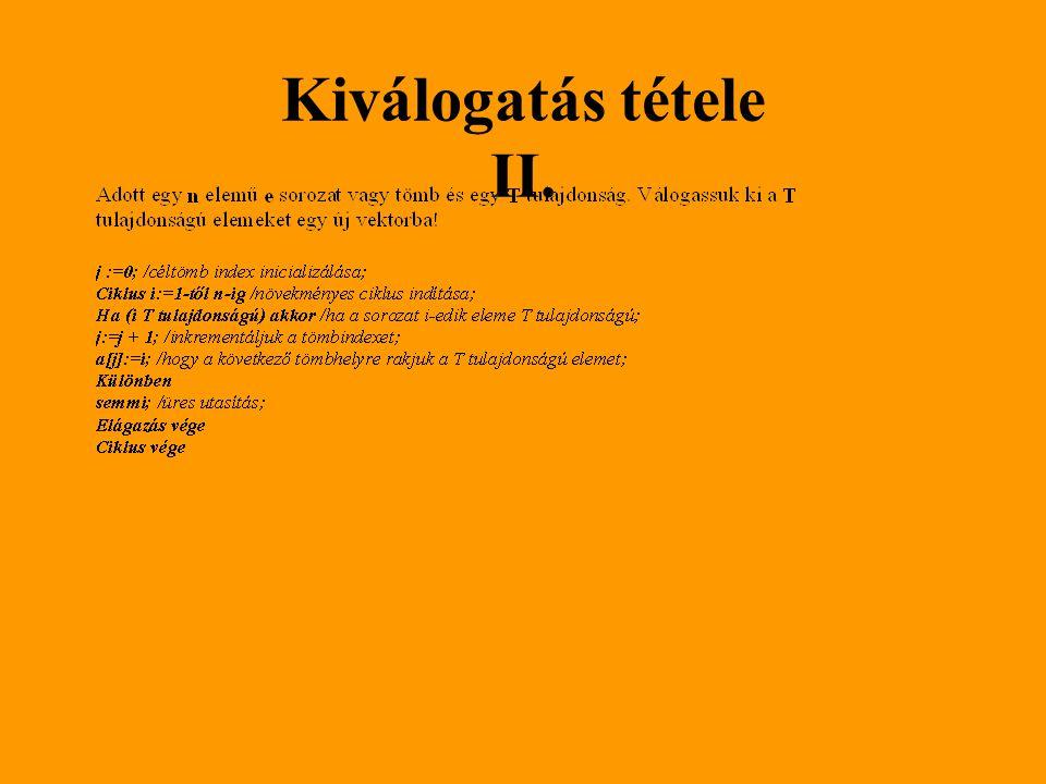 Kiválogatás tétele II.