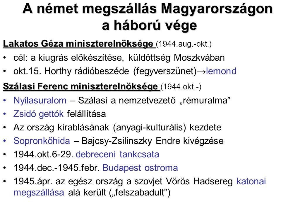 A német megszállás Magyarországon a háború vége