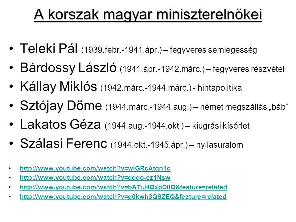 A korszak magyar miniszterelnökei