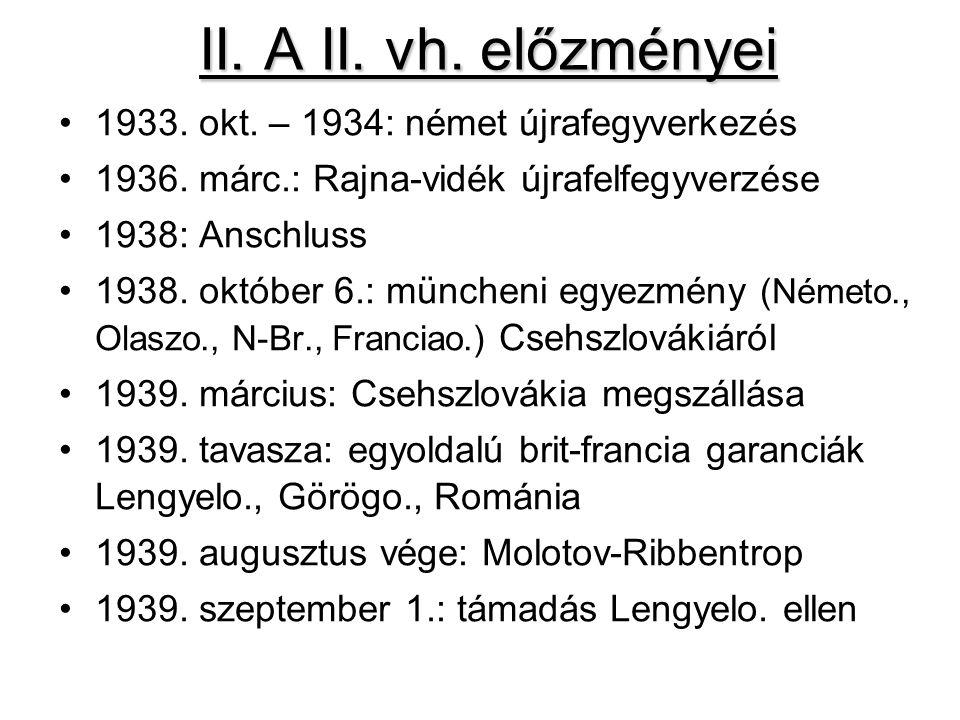 II. A II. vh. előzményei 1933. okt. – 1934: német újrafegyverkezés