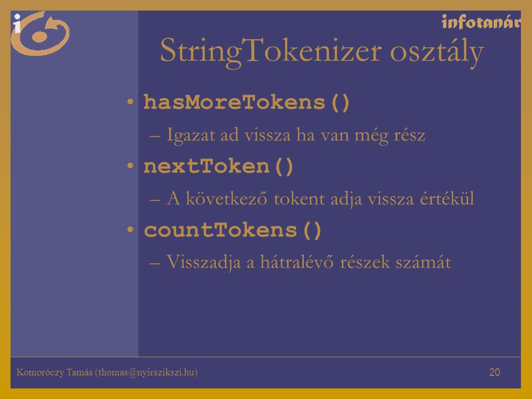 StringTokenizer osztály