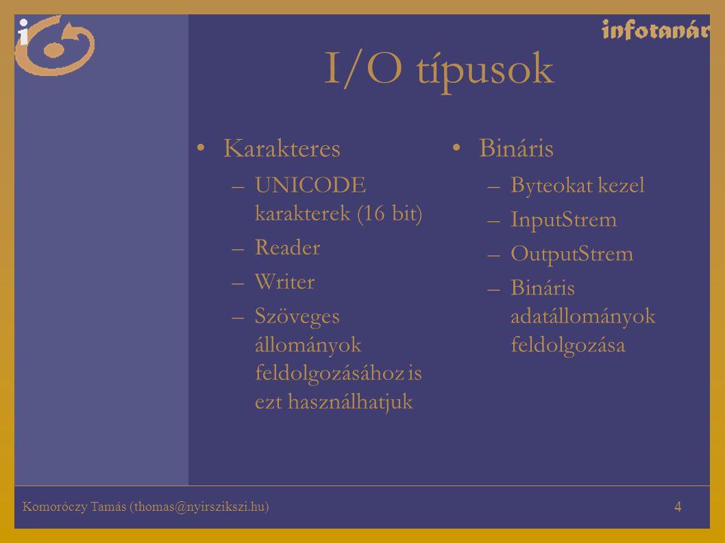 I/O típusok Karakteres Bináris UNICODE karakterek (16 bit) Reader