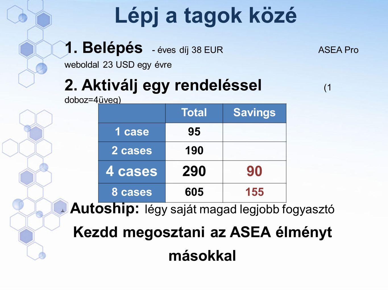 Lépj a tagok közé 1. Belépés - éves díj 38 EUR ASEA Pro weboldal 23 USD egy évre.